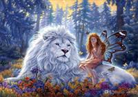 schönheit tier malerei großhandel-Schönheit Und Tier Rahmenlose Gemälde Stich Stickerei Hand Leinwand Diy Diamant Malerei Kits Wand Kunst Wohnkultur 10lx jj