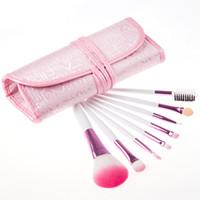 corar sacos cor de rosa venda por atacado-Pincéis de maquiagem Conjunto Fundação Blush Blush 8 pcs Maquiagem Lidar Com Escova Cosméticos Kits de Beleza Rosa Pincéis de Pó Profissional com Saco