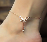 Wholesale gold butterfly anklet - Tassel Anklets Casual Beach Vacation Anklets Bracelets Jewelry Ankle Chain New Butterfly Single Rose Gold Anklet