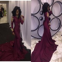 Wholesale Sexy Girls Spandex - African Burgundy with Gold Appliques Modest Long Sleeves Prom Dresses Mermaid 2018 High Neck Black Girls Evening Party Gowns