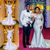 robes de mariée en queue de poisson ivoire achat en gros de-Robes de mariée taille plus sirène manches longues balayage train dentelle robes de mariée sur mesure robes de mariée africaines