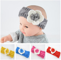 flores de crochet para faixas de bebê venda por atacado-Bebê bonito flor quente headband handmade crochet Camellia torção headbands headwear floral moda hairbands de malha de lã hairband cocar