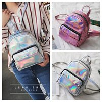 Wholesale small mini cell - 2 Colors Fashion Women Laser Backpack Pink Silver Girls Mini Travel Backpack PU Holographic Waterproof Beach Shoulder Bags CCA9866 16pcs