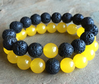 gelbe jade armbänder großhandel-10mm gelb Jade Perlen Armband, 10mm schwarz Lava Perlen elastisches Armband, Edelstein Armband, Bead Armband, Geschenke