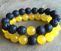 pulseiras de jade amarelo venda por atacado-10mm Pulseira de Contas de Jade Amarelo, 10mm Contas de Lava Preta Pulseira Elástica, Pulseira de Pedras Preciosas, Pulseira de Talão, Presentes