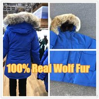 ceket furring erkekler toptan satış-2019 Kanada Yeni Varış Satış erkekler Expedition Down Parkas Hoodie Siyah Lacivert Gri Ceket Kış Coat / Parka Kürk Satı ...