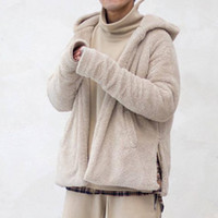 chaquetas de sherpa al por mayor-Temor de Dios Cómoda chaqueta con capucha Sherpa Hombres Mujeres Fleece Chaqueta de punto Kanye West Hip Hop abrigos de invierno abrigos MQH1107