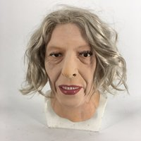 ingrosso maschere piene di fronte sexy-2018 di moda in lattice donne anziane Party Girl Cosplay fronte di bellezza per il partito Maschera sexy Capelli lunghi Maschera di Carnevale Halloween
