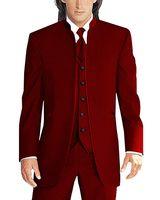 Newest Groomsmen Dark Red Groom Tuxedos Mandarin Lapel Men Suits Wedding Best Man Bridegroom (Jacket + Pants + Vest + Tie) L173