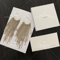 Wholesale mother pearl stud earring flower resale online - Popular fashion brand High version C gold tassel earrings for lady Design Women Party Wedding Lovers gift Luxury Jewelry for Bride With BOX