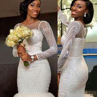 Wholesale Lace Mermaid Strapless Wedding Dresses - Luxury Beaded South African Long Sleeves Wedding Dresses Mermaid 2017 Sheer Jewel Neck Arabic Vestidos De Novia Real Picture