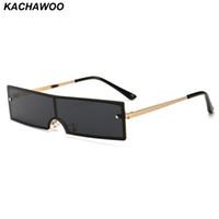 artículos de regalo rojos al por mayor-Kachawoo venta al por mayor 6 unids rectángulo gafas de sol hombres una pieza lente metal negro rojo gafas de sol mujer unisex artículos de regalo de navidad