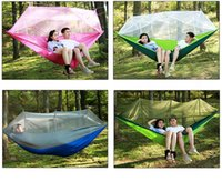 Wholesale Hanging Chair Furniture - Anti Rollover Summer Field Camping Hammock Chair with Mosquito Net Light Nylon Garden Hanging Swing Outdoor Furniture Leisure Bed
