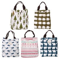 Wholesale portable kids beds online - portable kids Portable Insulated Neoprene Lunch Bag Canvas Stripe Thermal Bags Kids Baby Tote Picnic Lunchbox lunch package