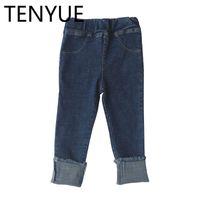 ingrosso nuovi jeans dei bambini di stili-TENYUE, ragazze, jeans, pantaloni, primavera autunno, 2018 nuovi stili di bambini, elastico, curling, body training e pantaloni piccoli.