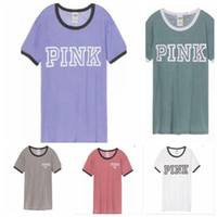Wholesale wholesale pink long sleeve shirts - Pink Letter T-Shirts Short Sleeve T-shirt Women Pink Letters Printed T-shirts Casual Round Neck Loose Tops Tee Clothing 5 Colors 10 OOA4470