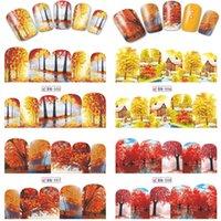 art noix jaune rouge achat en gros de-1 Feuille Automne Style Jaune Rouge Feuille D'érable Étiquettes Autocollant Transfert De L'eau Nail Art Autocollants DIY Ongles Stickers Manucure BN505-516