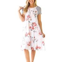 ingrosso abiti estivi della boemia-Holiday Boho Summer Beach Donna Abiti stampati floreali Bohemian stampa girocollo maniche corte Beach Girl Dress
