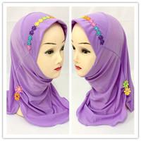 Wholesale Flower Hijabs - (12 pieces lot) 2017 new design flower lovely girls muslim scarf kids hijabs XHGT021