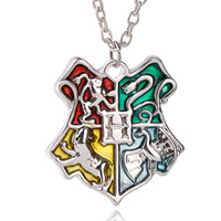Wholesale Harry Potter Crests - whole saleFashion Hogwarts School Crest Necklaces & Pendants Potter Magic School Logo Harry Necklace for Friend Brother Gift N-069