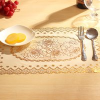 Wholesale Plastic Table Mats - Wholesale Luxury Gold Heat Insulation Mats PVC Flower Table Wok Pan Holloware Pad Cup Mat Insulation Mat JSF-008