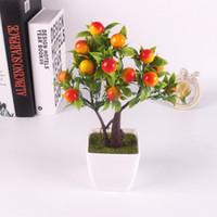 Wholesale fake pot plants - Artificial Emulate orange Bonsai Simulation Decorative Artificial Flowers Fake berry Pot Plants Ornaments Home Decor 27cm