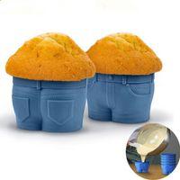 ingrosso torta di jeans-Creativo Jeans Silicone Muffa della torta di cottura Accessori FAI DA TE Muffin Cupcake Pudding cioccolato Ice Tray Stampo 300 pezzi