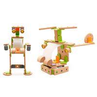pneus laranja venda por atacado-DIY Criativo De Madeira Blocos de Construção de Brinquedo Montar Helicóptero Robô Animais Avião Bicicletas Crianças Puzzle Montessori Imaginação e hands-on abilit