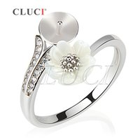 Wholesale Flower Design Rings - New Design of 1Piece Adjustable DIY 925 Sterling Silver Flower Ring Accessories with Shiny Zircons, For Pearl Jewelry Making, free shipping