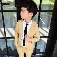 детские костюмы бежевый оптовых-Весна мальчиков бежевый костюм для свадьбы мальчиков бренд дизайн 2 шт. мальчики блейзер комплект одежды дети школьный костюм