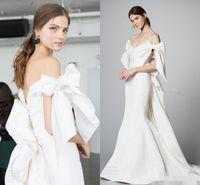Wholesale Lace Over Satin Wedding Dress - Elegant Chic Mermaid Wedding Dresses 2018 Marchesa Bridal Off the Shoulder V neck Wrap Over Bodice Open Back Ribbon Chapel Train