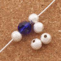 colares de latão banhado venda por atacado-Stardust de Prata Banhado Geada Contas De Bola de Latão 5mm 400 Pc / lote Solta Beads Jóias DIY L1775 fit Pulseiras Colares