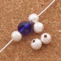 perlas de escarcha al por mayor-Stardust Plateado Plata Frosting Brass Beads Bolas 5mm 400 Unid / lote Perlas Sueltas Joyería DIY L1775 pulseras aptas Collares