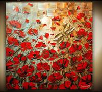 peinture murale fleur rouge achat en gros de-peint à la main rouge coquelicot couteau à palette lourde texture fleur peintures à l'huile oeuvre moderne wall art toile cadeaux uniques Kungfu Art