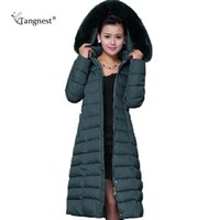 Wholesale vintage down parka - Wholesale- TANGNEST Maxi Winter Coat 2017 New Casual Plus Size Winter Jacket Coat Women Thick X-Long Cotton Parkas Casaco Feminino WWD122