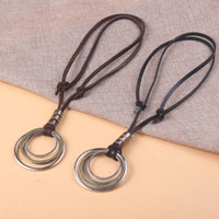 Wholesale mens leather charm pendant necklaces for sale - Group buy New Mens Leather Ring Necklace Charm Leather Necklace Genuine Cowhide Antique Color per