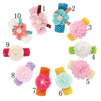Wholesale lace bands for hair resale online - 10pcs Hair Bands Baby Girls Lace Flower Headbands Crochet Headband For Baby Hair Accessories Headwear Per H038