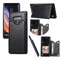 cas de téléphone de carte de crédit de galaxie achat en gros de-Pour Samsung Galaxy Note9 S9 + S8 Plus S7 Étui Portefeuille En Cuir De Luxe Antichoc Téléphone Cas Couverture Arrière avec Slots de Carte de Crédit