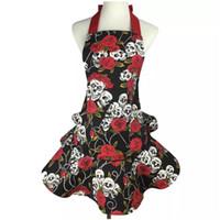 avental preto vermelho venda por atacado-Impressão de avental de lona de algodão crânios rosas vermelho e preto bonito partido Hostess original presente Coverall avental