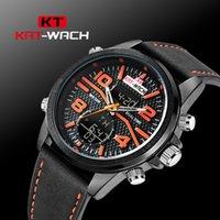 ingrosso grandi orologi a led-KAT-WACH Orologio sportivo Heavy Duty 50mm Big LED Back Light 5ATM Orologio con funzione di sveglia impermeabile Cinturino in vera pelle