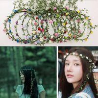 Wholesale garlands high quality for sale - Group buy Tassel Shaped Flower Headband High Quality Bohemian Floral Crown Wedding Garland Forehead Hair Head Band Beach Wreath Colo