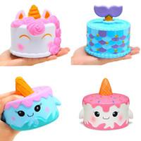 Wholesale unicorn cakes - squishy CutePink unicorn Toys 11CM Colorful Cartoon Unicorn Cake Tail Cakes Kids Fun Gift Squishy Slow Rising Kawaii Squishies