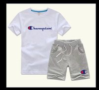Wholesale children photos - boy Photos Brand Kids Sets Children T-shirt And Shorts Pants Kids Tracksuits Children Sport Suit 2 Pcs Short Sleeve