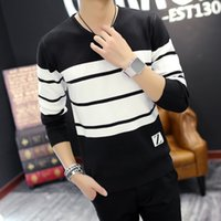 Wholesale wool strips for sale - Group buy Designer Men Sweater V neck Turtleneck Sweater Thin Youth Fashion Sweater High Quality Plus Size XL Thin Strip Hotsale
