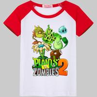 camisa de bebé básica al por mayor-Niños Plantas Vs Zombies Camiseta Niños Camisetas básicas Dibujos animados Top de cactus Camisetas Niños Deporte Ropa Baby Boy Diseño Camisas para 2-11 años