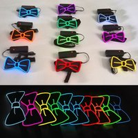 Wholesale glow tie - LED EL Cold Light Tie Glowing In The Dark Adults Cravat Colorful Flashing Bowknot Ties Wedding Decorations 20yh B