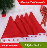 décorations pour enfants achat en gros de-Le plus récent épais ultra doux chapeaux de Noël rougeoyants chapeau de Noël des adultes chapeau 29 * 39 cm pour enfants mignons Santa Cap décorations de Noël I396.
