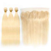 613 fermeture frontale blonde achat en gros de-613 Bundles With 13x4 Frontale Droite Brésilienne Remy Cheveux Humains Blonde 3 Bundle Avec Fermeture En Dentelle Frontale