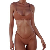 bikini yukarı toptan satış-Kadın Mayo 2019 Şınav Mayo Bikini Set Seksi Plaj Swim Suit Push Up Artı Boyutu Yüksek Bel Beyaz Siyah Katı