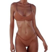 bikini plus al por mayor-Mujer traje de baño 2019 Push Up traje de baño Bikini Set Sexy traje de baño de playa Push Up Talla grande Cintura alta Blanco Negro Sólido